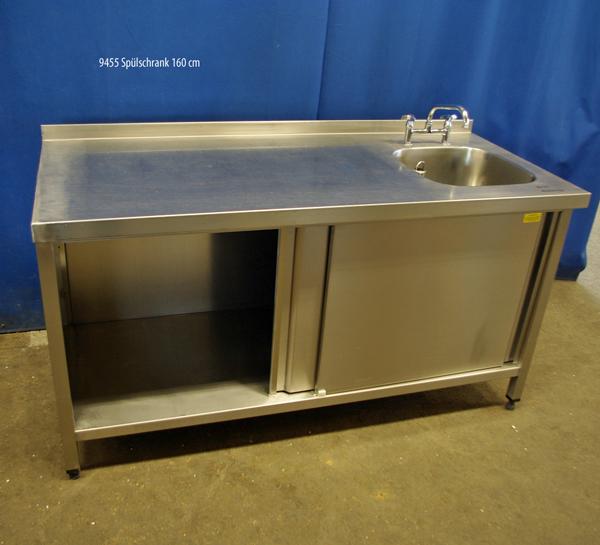 Spülschrank Edelstahl,1 Becken rechts, 160x70x86 cm | Christoph Kunad