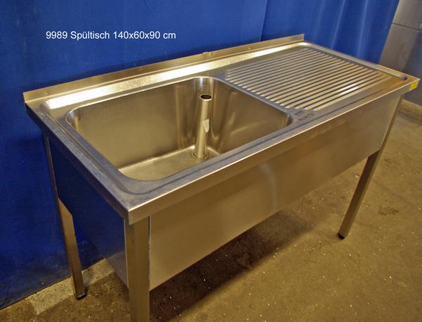 Spültisch Edelstahl 1großes Becken, 140x60x90 cm