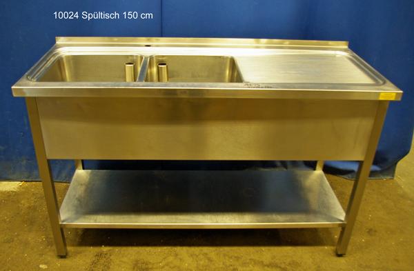 Spültisch Edelstahl  2 Becken, 150x60x86 cm