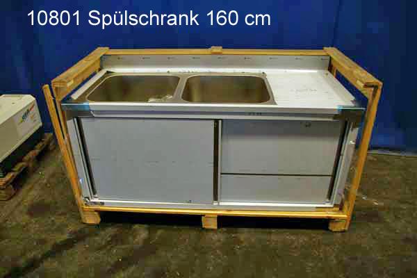 Spülschrank Edelstahl 2 Becken 160x70x85 cm