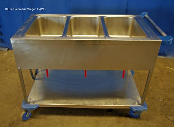 Bainmarie  Wagen Edelstahl fahrbar 3x 1/1 GN,  Blanco Typ SAW3